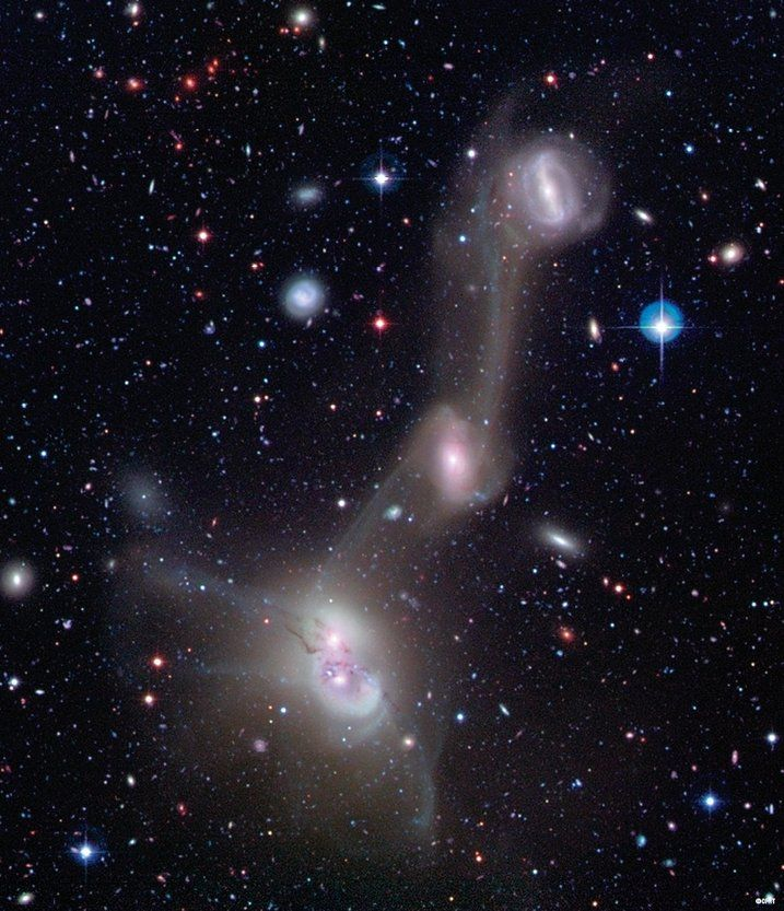Tuesday, April 1, 2014: These four spiral galaxies in NGC 4410 display an extraordinary cosmic spectacle, each generating immense tidal forces that rip each other apart as they pass close to each other.  The galactic disks and spiral arms stretch apart while stellar filaments swirl into the intergalactic medium as the galaxies entwine in a dance of staggering proportions.%u2014 Tom Chao
