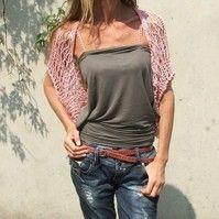 Pink cotton loose weave shrug