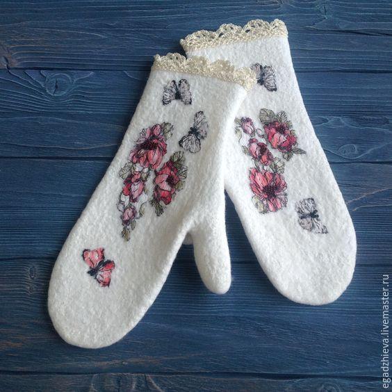Купить Варежки валяные русский стиль - белый, рисунок, варежки, варежки ручной работы