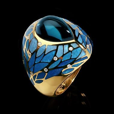 Mousson Atelier ring FOUR SEASONS Yellow gold 750, Topaz London 8,47 ct., Diamonds, Enamel