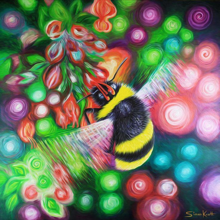 Bumblebee and Flowers by Simon Knott #flowers