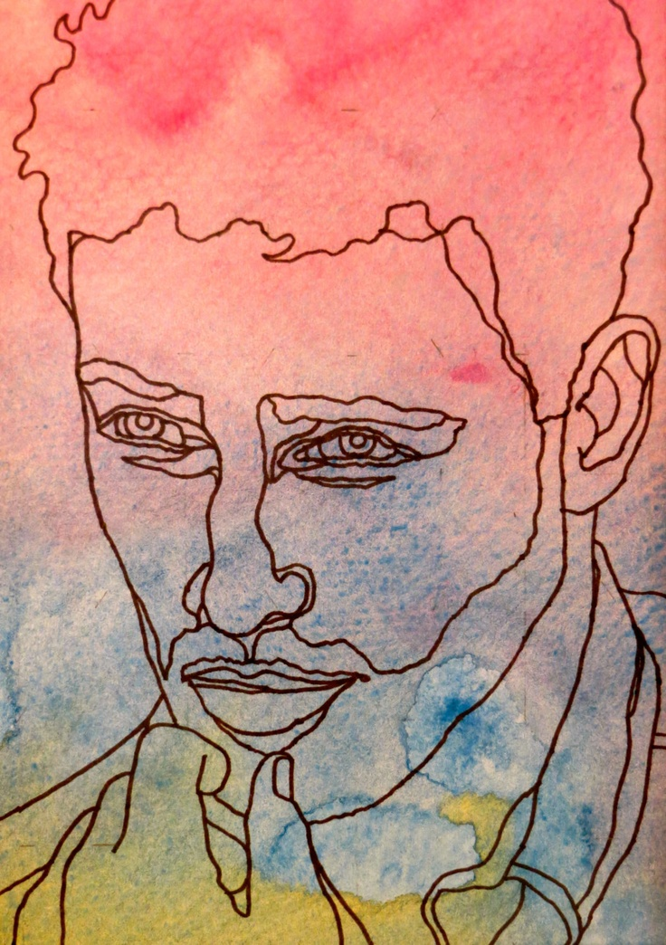 EVEN STEVEN - An Original Artwork - Ink Drawing on Abstract Watercolor Painting - One Continuous Contour Line of a Face. $45.00, via Etsy.