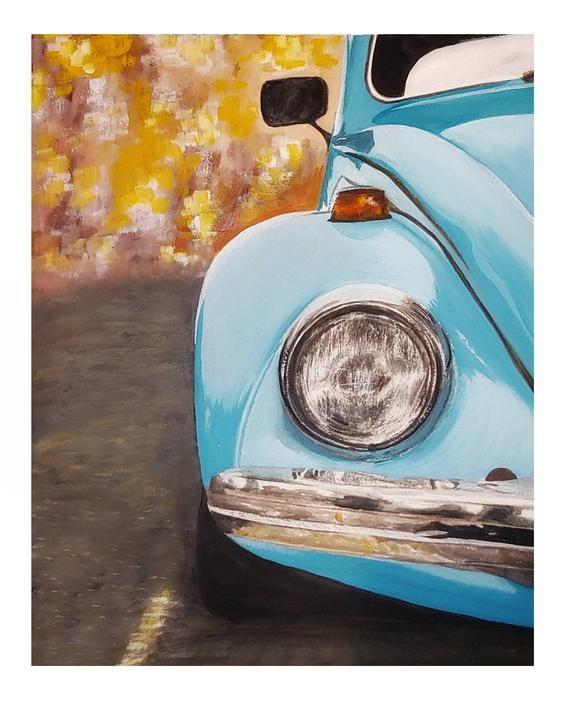 Volkswagen Beetle Bug Blue Cars Classic Gouache Wall Art Art Print In 2020 Car Painting Vw Art Etsy Wall Art