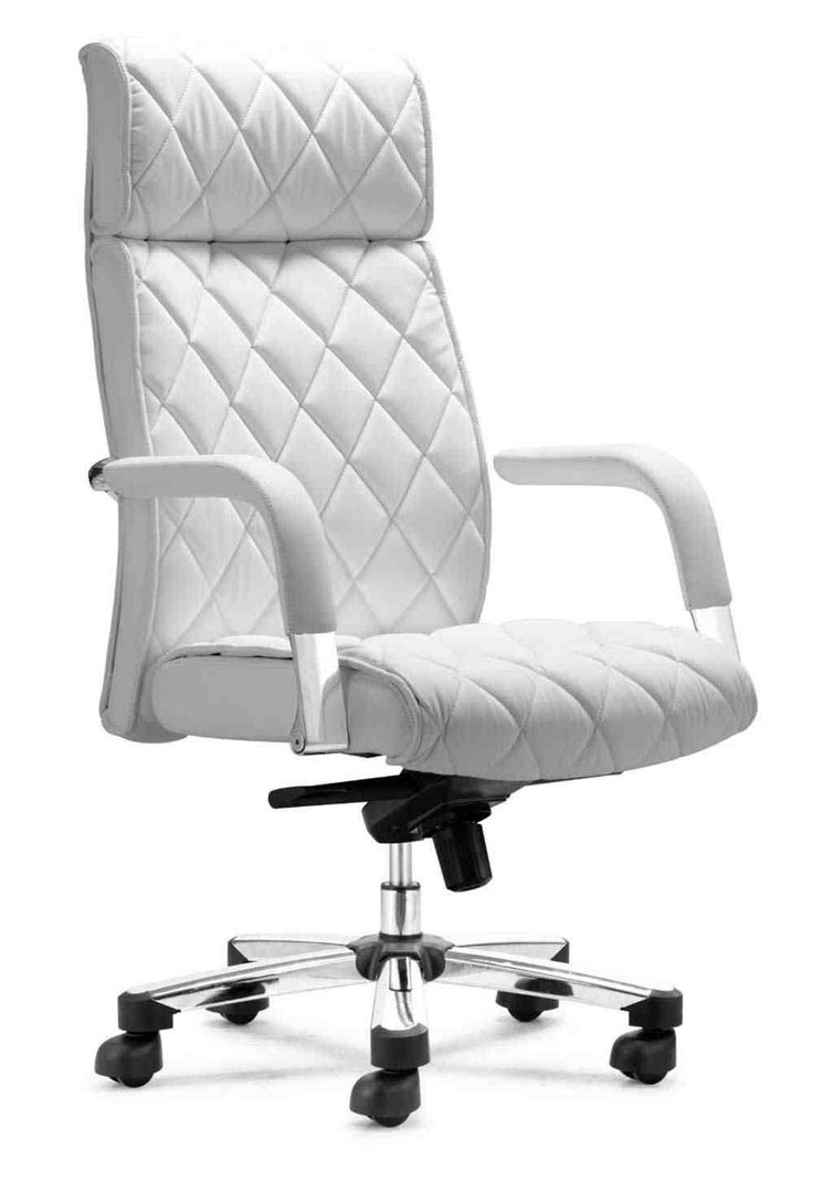 Armless leather desk chairs - Modern White Leather Office Chair
