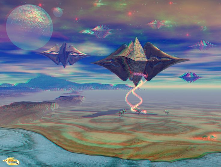 Spacecraft pyramids_2 (3D Anaglyph) Work conceived in 3Ds Max and Bryce 3D.