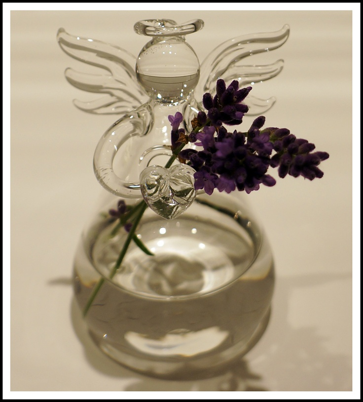 Glass angel vase for small flowers