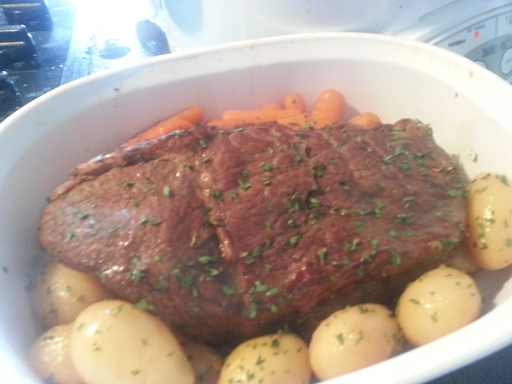 easy crockpot roast...1/2 c water, one packet ea of ranch, Italian seasoning and brown gravy mix. Stir together and pour over roast, potatoes and carrots in crock.