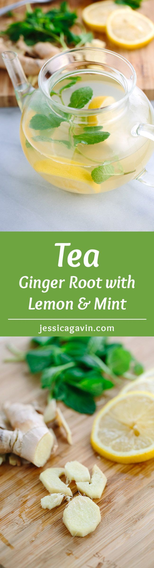 Ginger Root Tea with Lemon and Mint - Three simple ingredients provide a soothing drink any time of day. With this recipe you can make it as a large pot at home, or single serving on the go. | jessicagavin.com