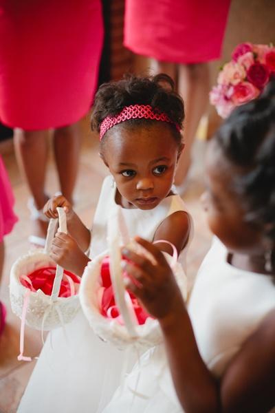 African American wedding; fuchsia; flower girl dresses; bridesmaid dresses; little people; kiddies