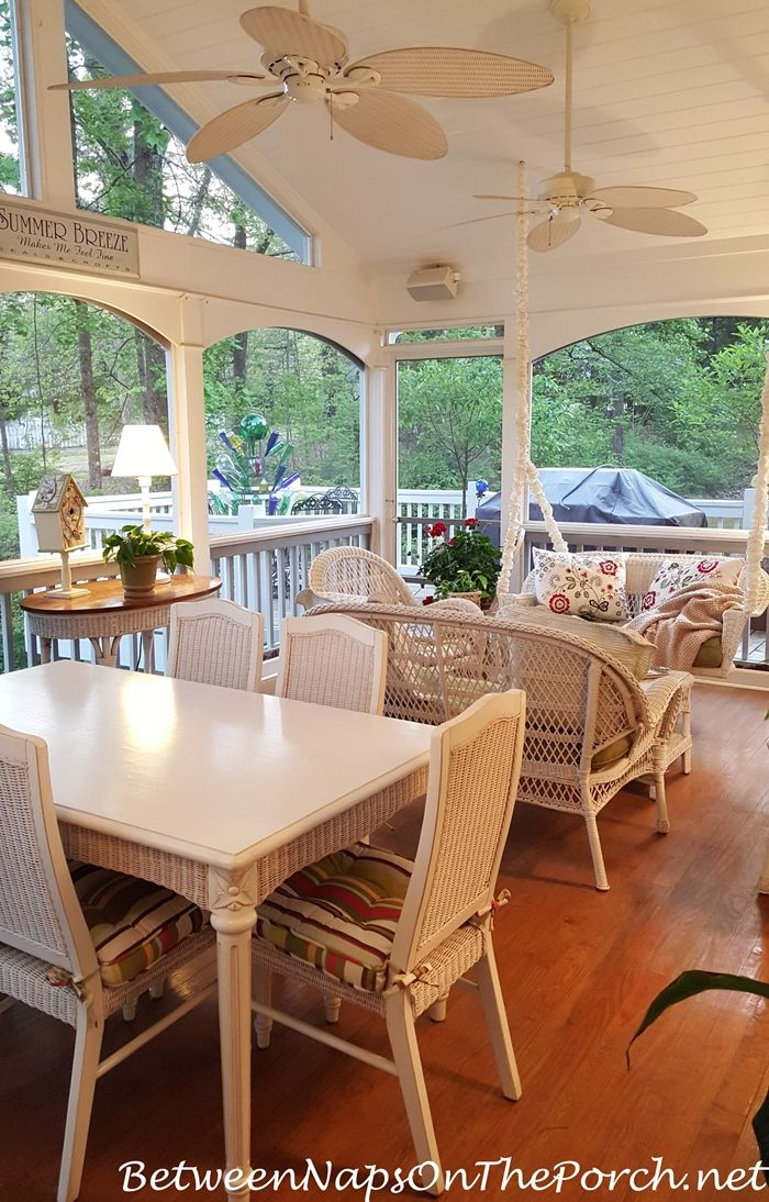 Good Screened Porch Ready For Spring Entertaining From Between Naps On The Porch.