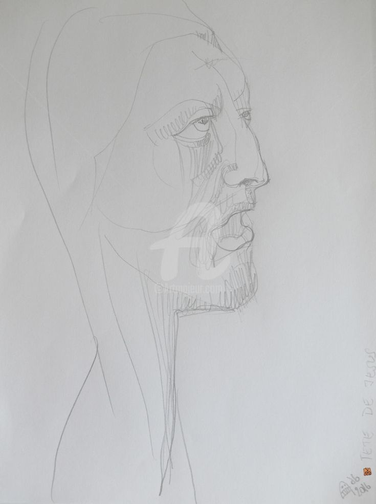 'Tete de Jesus Christ' by Alice Iordache (Drawing),  29.5x21x0.1 cm by Alice CC Iordache 'Tete de Jesus Christ' by Alice Iordache original art is one of my drawings belonging to the series I've called 'The Little Religion'. It is created using pencil and tempera on regular paper. My work is hand signed (to ensure authenticity for those who buy).   I love drawing angels, fantasy creatures and other universal themes and I hope you will love to have one of my original works in your home.
