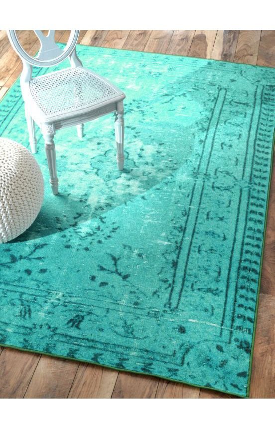 Rugs USA Winsdor Damla Overdyed Turquoise Rug. Rugs USA Labor Day Sale up to 80% Off! Area rug, rug, carpet, design, style, home decor, interior design, pattern, trends, home, statement, fall, cozy, sale, discount, interiors, house, free shipping.