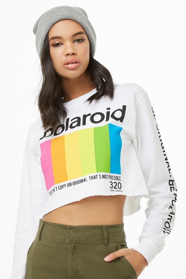 479708513d7b0 Polaroid Logo Crop Top