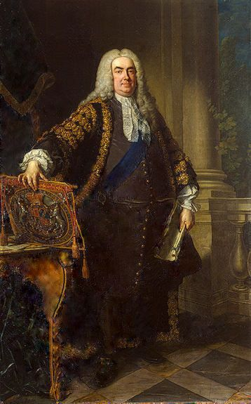 Robert Walpole, 1st Earl of Orford, 1676–1745, was a British statesman and the 1st Prime Minister of Great Britain. There was no official office of Prime Minister before him. He was a part of the Whig stronghold on power during the reigns of George I and II from 1721 until 1742 when he resigned. His administration was in power for the longest period of time in British history.