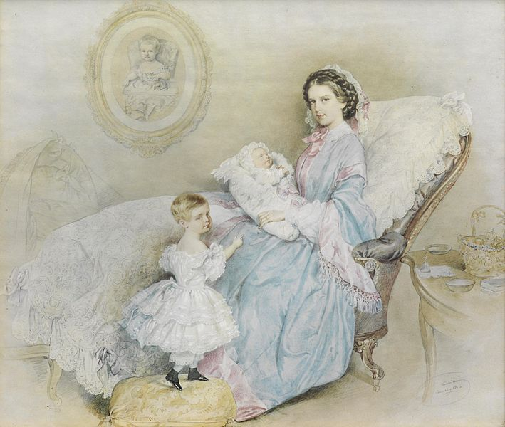 Empress Elisabeth with her children , lithograph by Kriehuber , Laxenburg 1858