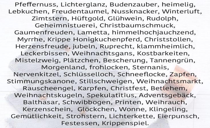 Schöne Wörter zu Weihnachten. Schöne Weihnachtswörter.