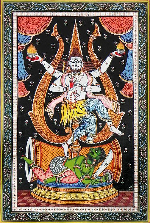 Shiva as Nataraja (Orissa Pattachitra Painting on Canvas - Unframed)