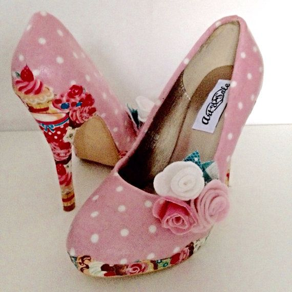 Ladies shoes, polka dot shoes, pink shoes, cupcake shoes, wedding shoes, tea party, afternoon tea rockabilly customised shoes, ladies heels