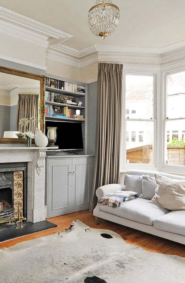 This color palette of various grays, with cream, taupe white and gold is gorgeous!! Home tour | A dark, dramatic house in Bristol | These Four Walls blog
