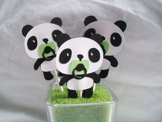 Panda bear cupcake toppers baby shower by NancysBannerBoutique   18 00  OMG  So cute