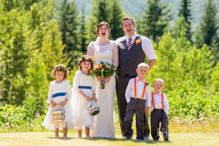 Wedding party photo. Bride, groom, flower girls and ring bearers  (Kristen Borelli Photography, Golden Wedding Photographer, Vancouver Island Wedding Photographer, Prince George Wedding Photographer, Heather Mountain Loddge Wedding Photographer, Nanaimo Wedding Photographer, Victoria Wedding Photographer)