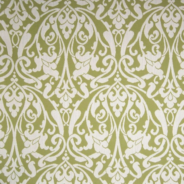 Citrine Green Scroll Outdoor Upholstery Fabric