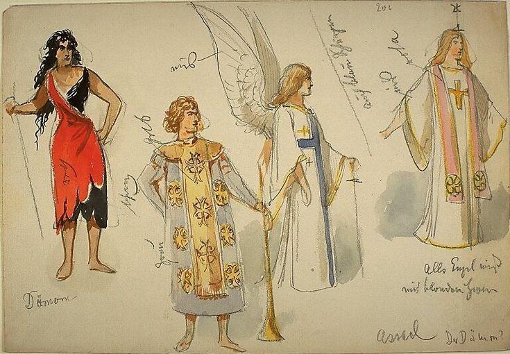 Kostümentwürfe für vier Figuren, drei Engel und eine weibliche Gestalt, aus 'Der Dämon' von Anton G. Rubinstein | Franz Gaul | Bildindex der Kunst & Architektur
