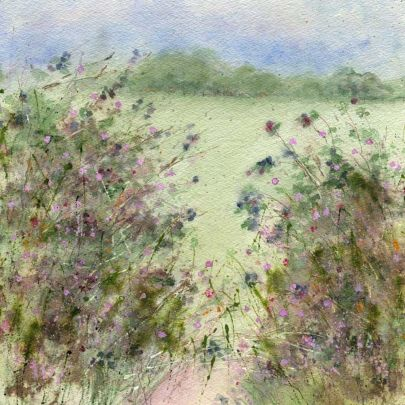 Blackberry Hedgerow by Sue Fenlon  Signed limited edition mounted print   Also available on stretched canvas