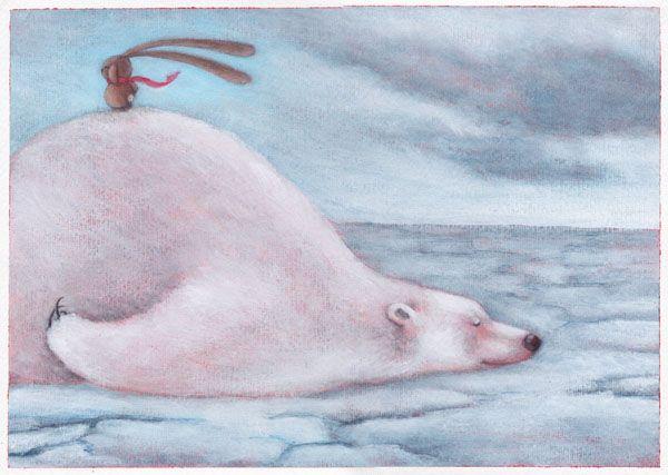 """POLAR BEAR"" illustration by Sarah Khoury. From the book ""Ciacio al Polo""(""Ciacio at the Pole""), 2012"