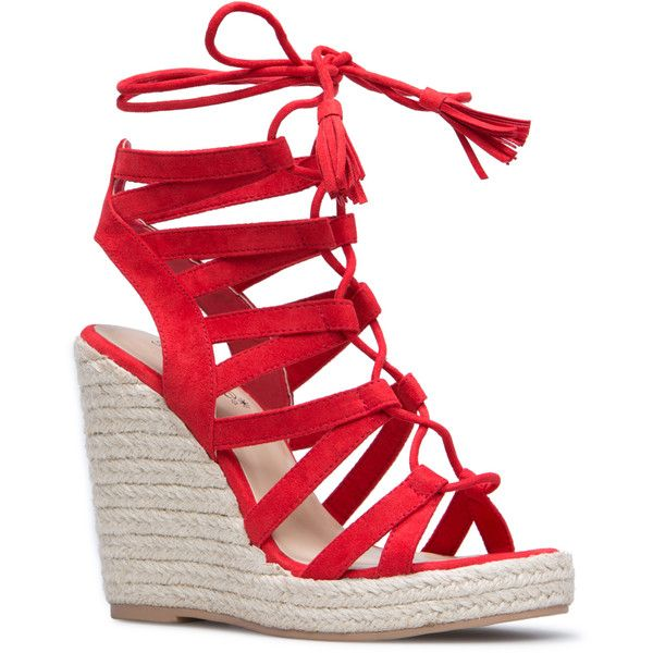 ShoeDazzle Wedge Anabella Womens Red ❤ liked on Polyvore featuring shoes, wedges, red, lace up shoes, wedge shoes, tassel shoes, red wedge shoes and red espadrilles