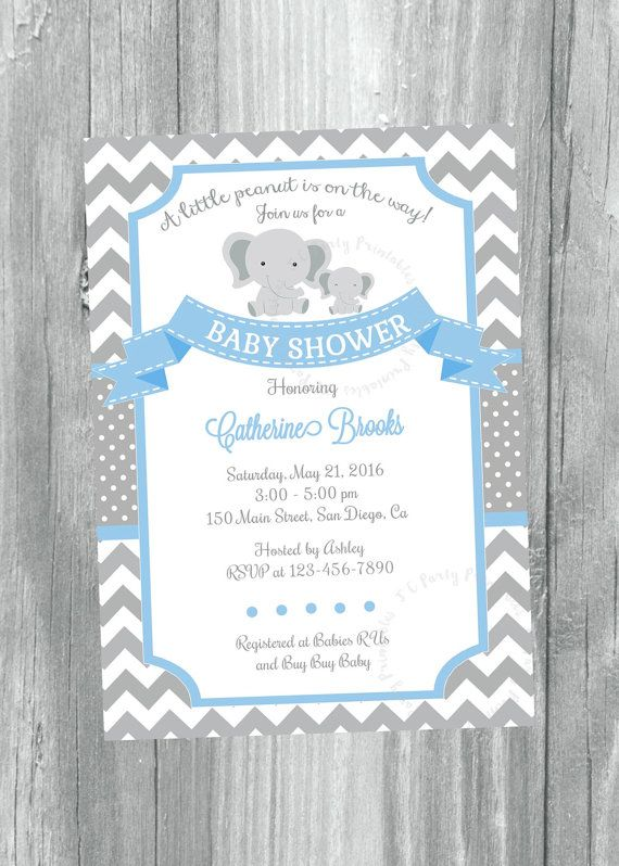 Grey and Blue Chevron Baby Shower Invitation. by JCpartyprint