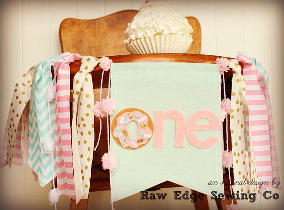 DONUT GROW UP Birthday High Chair Highchair Banner Party Photo