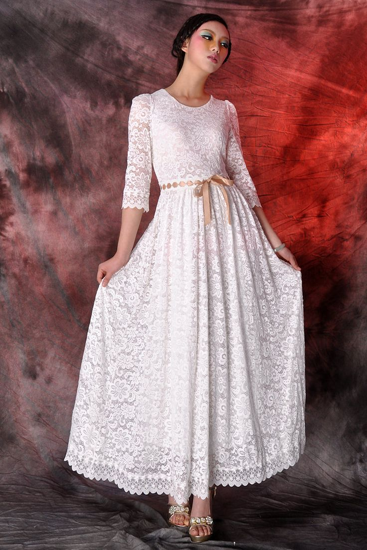 white lace maxi dress,wedding dress,party dress,long dress,circle dress. $89.00, via Etsy.