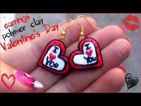 Jak zrobić Walentynkowe kolczyki z modeliny FIMO  Valentine's polymer clay - YouTube