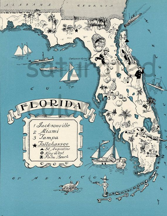 Florida Vintage Map  Map Art  High Res  DIGITAL by SaturatedColor, $3.00