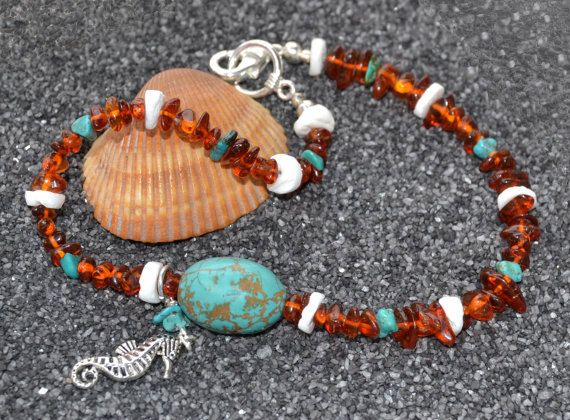 Amber anklet turquoise anklet ankle by MontanaAnniesJewelry