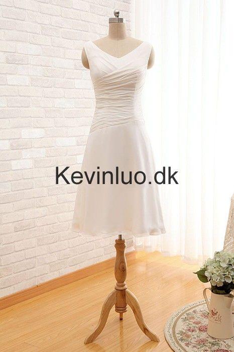Knæ-Længde Hvid Chiffon Brudepigekjoler
