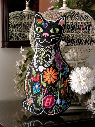 Vintage Crewel Embroidery, Freeform Crewel Embroidery Kits... I'm making this cat currently!