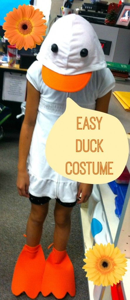 My daughter tells me that she needs a duck costume for her book presentation.  So we came up with this SIMPLE, EASY costume the day before.