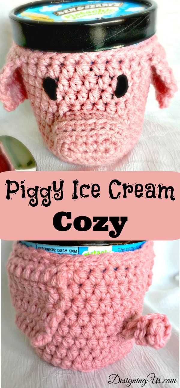 This little piggy is the cutest! Both the pint-sized crochet pattern and finished Pig Cozy are available for sale. Keep cool without freezing your hands!