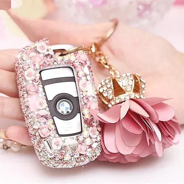 Pink Bling Car Key Holder with Rhinestones and flowers for BMW - Carsoda - 1