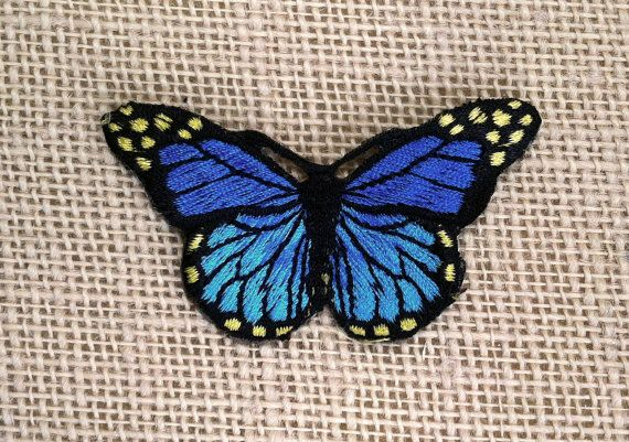 "Iron On Patch Butterfly 3"" Blue Butterfly - Sew On or Iron On Patches for…"