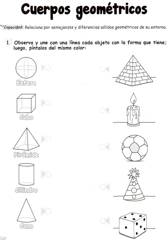 Ficha imprimible de matemáticas para 5 años. Tema: cuerpos geométricos. Actividad: observa y une con una línea cada objeto con la forma que tiene; luego, píntalos del mismo color.