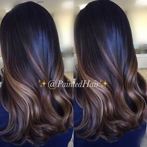 Golden & Caramel Brown Highlights for Dark Hair