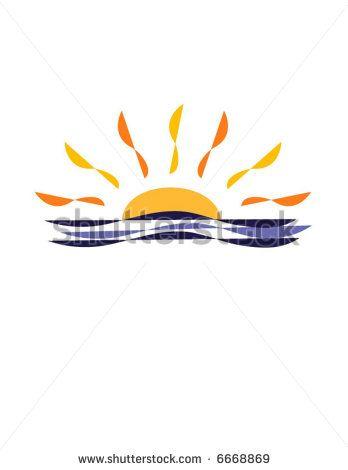 half sun over water clipart - Google Search