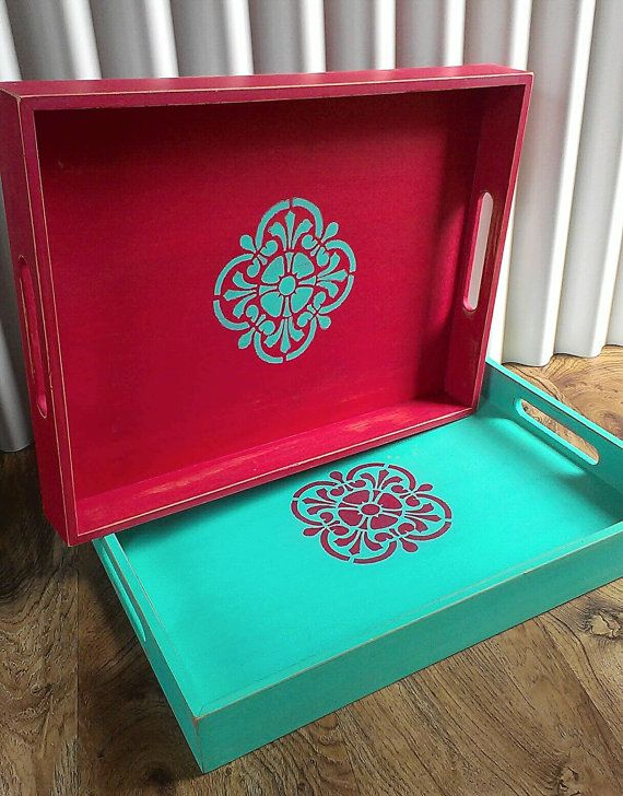 Chalk Painted Tray Holiday Decor Serving Tray by UrbanOasisDecor