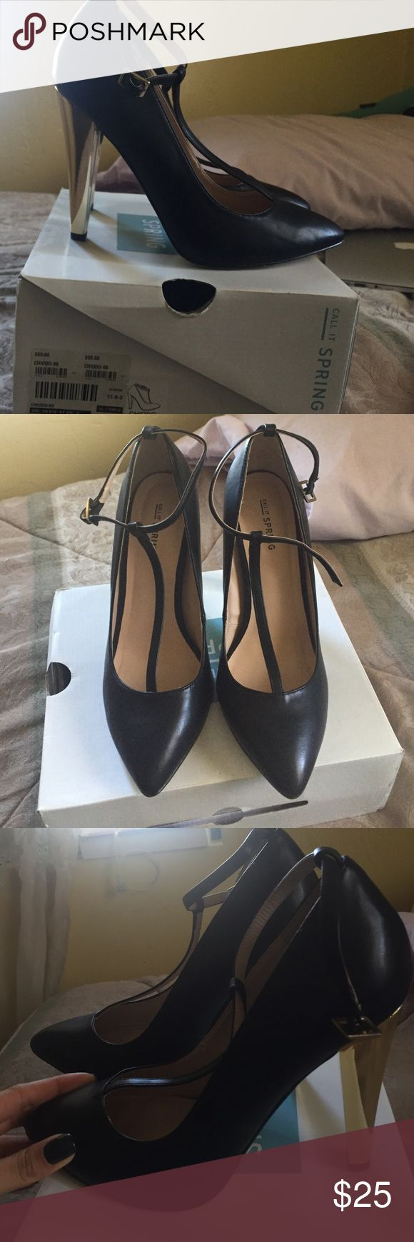 black heels with strap and golden heels these black heels come with golden heels making them pop Call It Spring Shoes Heels
