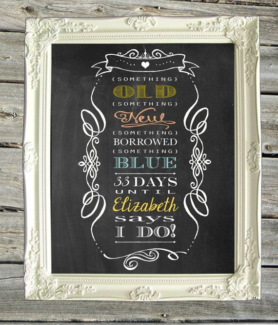Bridal shower chalkboard print sign personalized 8 x for Wedding shower signs