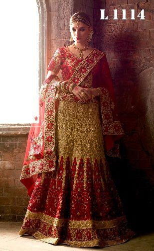 Beige Red Wedding Lehenga Choli For Bride