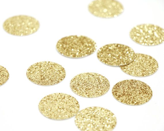 Mix this gold glitter circle confetti with another color to add dimension to any surface!   - Q U A N T I T Y - • 100 pieces cut from